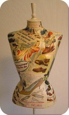 Dress form in vintage decoupage   Love