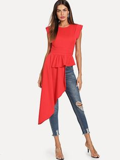 Shop Asymmetrical Hem Keyhole Back Blouse online. SHEIN offers Asymmetrical Hem Keyhole Back Blouse & more to fit your fashionable needs. Summer Blouses, Summer Shirts, Tops Peplum, Georgia, Indian Blouse, Asymmetrical Tops, Blouse Online, Pulls, Shirts