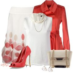 Stylish in Coral and Cream, created by kginger on Polyvore