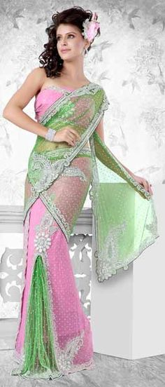 Super cute Green and Pink Net Lehenga Style Saree With Blouse Lehenga Style Saree, Lehenga Saree, Mehndi, Indian Dresses Online, Wedding Saree Collection, Saree Blouse Neck Designs, Indian Outfits, Indian Clothes, Saree Wedding