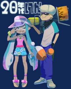 1boy 1girl blaster_(splatoon) blonde_hair blue_background blue_hair bracelet dark_skin domino_mask floral_print ganguro hand_in_pocket inkling jewelry katou_(osoraku) luna_blaster_(splatoon) mask necklace over_shoulder pointy_ears raglan_sleeves sandals scarf shirt shoes simple_background skirt sneakers spaghetti_strap splatoon t-shirt tentacle_hair v visor_cap weapon weapon_over_shoulder wedge_heels