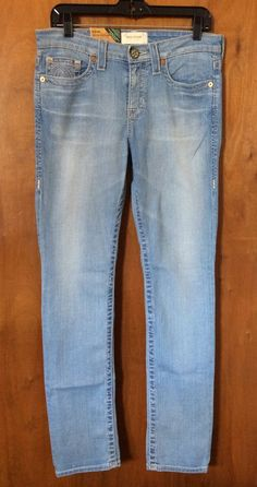 BIG STAR KATE Mid Rise Straight Jeans Size 28 Women Light Denim Pant Inseam 32 #BigStar #AnkleJeanStraightLeg