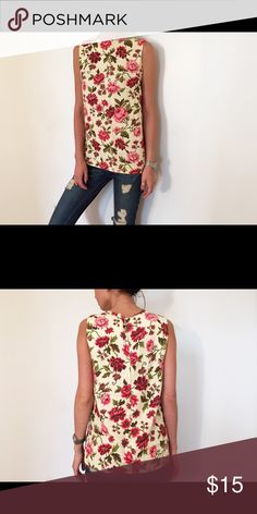 Beige and pink floral top Women's beige and pink floral top Vintage Tops