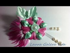 Flor con pluma en cintas tutorial - YouTube