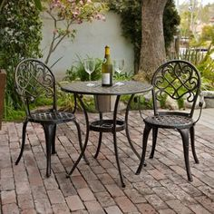 Looking for a small bistro set for the deck that won't rust.  I think this is it! Update - bought it and love it!