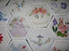 Turn usable bits of vintage linens into paper pieced hexies. Use as applique embellishments or mix in as part of a larger quilt.