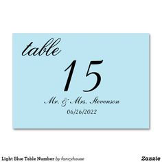 Light Blue Table Num