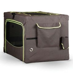 K&H Pet Products Classy Go Soft Crate - Brown/Lime Green - KH1463
