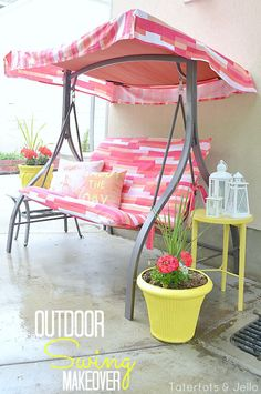 outdoor swing makeover idea at tatertots and jello