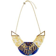 Anisha Parmar London Women Aida Necklace (1.275 BRL) ❤ liked on Polyvore featuring jewelry, necklaces, adjustable chain necklace, gold tone chain necklace, marble necklace, wood necklace and blue chain necklace