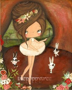 Ballerina Art Print Crackled Ballet Bunny Wall Art by thepoppytree