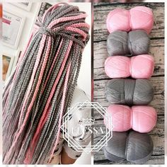 SET of Brazilian Yarn for Braids High-Quality Acrylic wool for Hair Jumbo Braids, Senegalese Twist, Wraps Natural Knitting Hair, Pink Braids Black Girl Braided Hairstyles, Black Girl Braids, Girls Braids, Box Braids Hairstyles, Yarn Braids Styles, Braid Styles, Brazilian Wool Hairstyles, Senegalese Twist Styles, Jumbo Braids