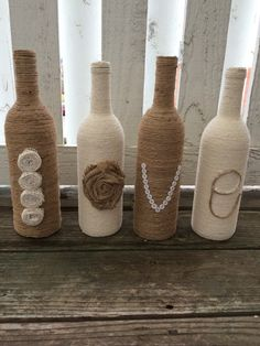 Liebe Bindfaden umwickelt Weinflasche Dekor von FindALittleDream