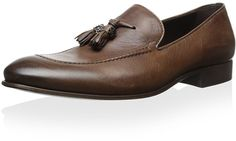 $591, Brown Leather Tassel Loafers: Roberto Cavalli Stoccardo Tassel Loafer. Sold by MyHabit. Click for more info: https://lookastic.com/men/shop_items/301361/redirect