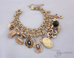 Heirloom Quality Repurposed Handmade Victorian era Charm Bracelet - One of a Kind from JryenDesigns.etsy.com   Follow me on Facebook: https://www.facebook.com/JRyenDesigns