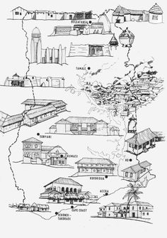 Traditional Building Methods in Ghana showing the various regions: coastal plain, rain forest, transitional forest and savannah