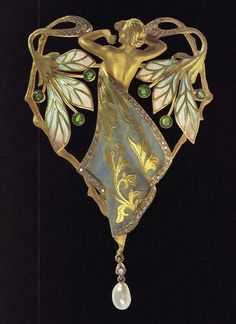Art Nouveau Brooch. Enameled Gold with Peridots and Pearls. Circa 1900.