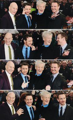 Ian McKellen & Michael Fassbender ( Magneto ) with Patrick Stewart & James McAvoy ( Charles Xavier )