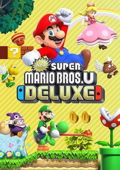 "New Super Mario Bros. U Deluxe is a port from the Wii U game ""New Super Mario Bros. U"" and ""New Super Luigi U""! In this Deluxe version you can play as Mario, Luigi, Toad, Nabbit, and Toadette! When you play as Toadette and grab a mushroom you turn into Pe Super Mario Party, Super Mario World, Super Luigi, New Super Mario Bros, Super Mario Brothers, Mario Kart 8, Mario Bros., Mario Toys, Super Nintendo"