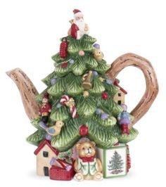 "Spode Christmas Tree Sculpted Christmas Tree Shape Teapot 8"""