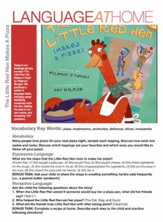 Heard in Speech: The Little Red Hen Makes A Pizza-language activities to accompany the book! Pinned by SOS Inc. Resources. Follow all our boards at pinterest.com/sostherapy for therapy resources.