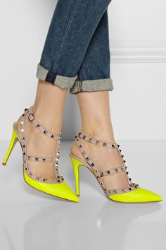 Not particularly my style but I WANT THESE Valentino | Rockstud neon leather pumps | NET-A-PORTER.COM