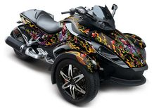 Can Am BRP Spyder Graphic Kit (All Years) - Ed Hardy Love Kills - Black Street Bike Graphic Kit - In Stock Now - AMR Racing's Premium Graphics are produced to order and may take up to 5 business days to manufacture. All graphics are digitally printed with UV resistant inks that are guaranteed not to fade up to 5 years. These are not your typical 3-4 color Silk-Screened graphics. New digital technology produces extremely Vivid and detailed images, up to 16.5 million colors!