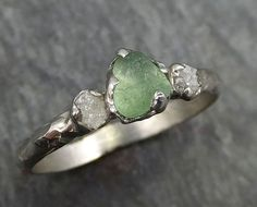Raw Sapphire Diamond White Gold Engagement Ring green lime Wedding Ring Custom One Of a Kind Gemstone Ring Three stone Ring byAngeline 0443
