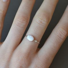 Opal and Diamond Drop Ring | La Kaiser - Simplistic & Unique Hand Crafted Jewelry