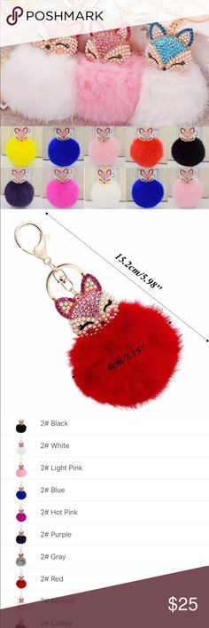 30% OFF NWT 🦊 fox cute crystal Pom Pom key chain Brand New cute 🦊 Fox crystal rhinestone soft pom poms key chain. Choose your favorite color. Check out my closet, we have a variety of women's, lululemon VS Victoria Secret, handbags purse 👛 Aerosoles, shoes 👠fashion jewelry, pineapple 🍍 black choker gold silver necklace, clothing, dress, Beauty, home 🏡 .  Ships via USPS. Smoke & Pet-Free. Offers 30% OFF bundle discount. Always a FREE GIFT 🎁 with every purchase!!! Thank you. Accessories…