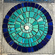Mosaic swirl by Anne Marie Price. www.AnneMariePrice.com #mosaic #mosaicart #AnneMariePrice #swirl #turquoise #CA #stainedglass Mirror Mosaic, Mosaic Wall, Mosaic Glass, Mosaic Tiles, Glass Wall Art, Fused Glass Art, Stained Glass Art, Mosaic Crafts, Mosaic Projects