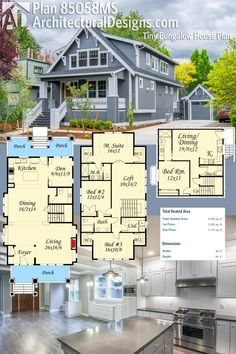 Architectural Designs Tiny Bungalow House Plan 85058MS gives you three levels of living, a wide open floor plan and over 2,400 square feet of heated living space. Ready when you are. Where do YOU want to build? Bungalow Homes Plans, Craftsman Bungalow House Plans, Bungalow Floor Plans, Small Bungalow, Cottage House Plans, Dream House Plans, Small House Plans, Sims House, Casa Ideal