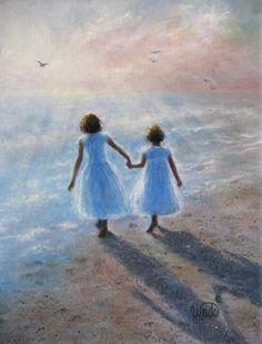 Imagine Sisters Print  Vickie Wade art ocean by VickieWadeFineArt, $26.00