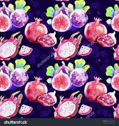 Seamless Pattern With Tropical Fruits.Watercolor Pattern With Figs, Dragon Fruit , Pomegranate.Useful For Invitations, Scrapbooking, Design, Card, Fabric. Colorful Bright Illustration For Food Design - 417615475 : Shutterstock