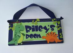 dinosaur kids bedroom door sign - toodler boy dino theme room decor - wall art #Boys