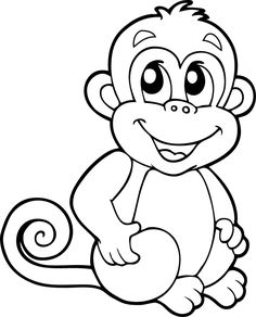 Monkeys are cute animals and are loved by children. His funny behavior makes children happy and laughing. Because of that we share with you all the cute monkey coloring pages for our children. Monkey Coloring Pages, Cute Coloring Pages, Disney Coloring Pages, Animal Coloring Pages, Printable Coloring Pages, Coloring Pages For Kids, Coloring Sheets, Coloring Books, Art Drawings For Kids