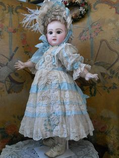 ~~~ Wonderful French BeBe Childlike Lace and Silk Dress with Bonnet from whendreamscometrue on Ruby Lane