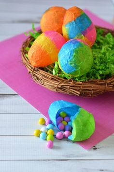 Paper Mache spring eggs craft activity the kids can do with tissue paper. Def trying this spring! diy
