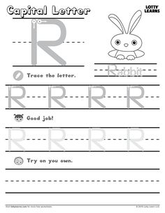 Capital Letter R Learning To Write, Learning Letters, Writing Practice, Alphabet Practice Sheets, English Alphabet, Worksheets, Lettering, Teaching, Numbers