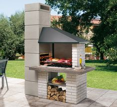 backyard design – Gardening Tips Brick Grill, Patio Grill, Outdoor Fireplace Designs, Backyard Fireplace, Backyard Patio Designs, Backyard Bbq, Diy Outdoor Kitchen, Outdoor Cooking, Design Barbecue
