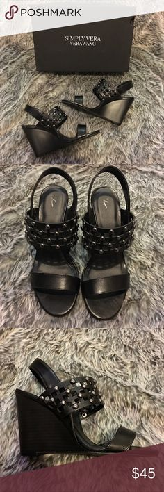 SV Vera Wang Lillian Black Wedges Size 7.5 Brand new with box. Simply Vera Vera Wang Studded Black Wedges in size 7.5. Simply Vera Vera Wang Shoes Wedges