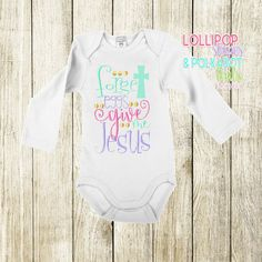 forget eggs give me jesus size 0/3M - 8 yr short sleeve $25 long sleeve $28 www.facebook.com/lollistripespolkadots   #easterShirt #babyshirt #kidsshirt #easter #embroideredshirt #customembroidery Custom Embroidered Shirts, Custom Embroidery, Cake Sizes, Baby Shirts, Little Miss, Boy Outfits, Give It To Me, Polka Dots, Shorts