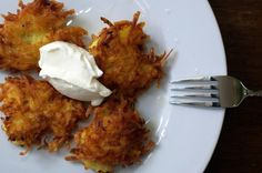 Potato-Parsnip Latkes with Savory Applesauce #recipe