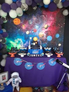 Check out this awesome Solar System Birthday Party! The birthday cake is amazing!! See more party ideas and share yours at CatchMyParty.com #catchmyparty #spacebirthdayparty #boybirthdayparty #desserttable