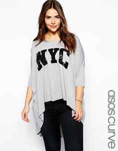 ASOS CURVE Exclusive Dip Back Top With Sequin NYC