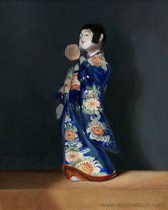 Still life oil painting of a ceramic Japanese figurine holding a kotsuzumi by Ester Wilson - http://www.esterwilson.com