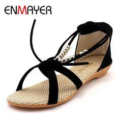 Shop now http://a-sheek-boutique.myshopify.com/products/enmayer-summer-retrol-sandals-shoes-woman-flats-ankle-strap-plus-size-34-40-cross-tied-zippers-open-toe-sandals-shoe-flat?utm_campaign=social_autopilot&utm_source=pin&utm_medium=pin A Sheek boutique new products.