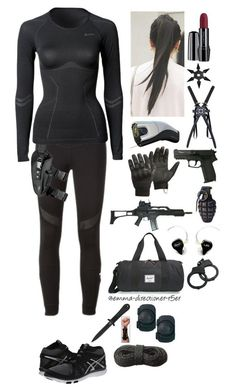 """S.H.I.E.L.D. agent #9"" by emma-directioner-r5er ❤ liked on Polyvore featuring adidas, ODLO, Asics, Lancôme, CamelBak, Herschel Supply Co., 5.11 Tactical, Swat, women's clothing and women"