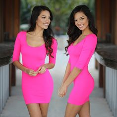 Little Pink dress! Introducing our new Neon Pink Fitted Top Dress! Such a super soft and comfortable piece. The fabulous fit and easy to wear style make this a great look for any woman. Not to mention it's so easy to pair with anything already in your closet or our printed leggings!