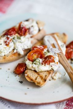 Bruschetta with labneh and slow roasted tomatoes.